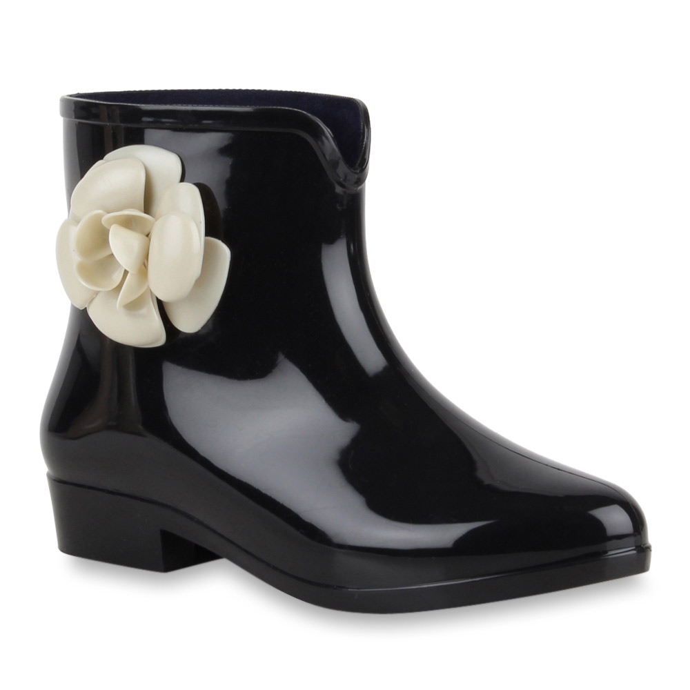 damen stiefeletten lack gummistiefel blumen boots 70513 gr 36 41 ebay. Black Bedroom Furniture Sets. Home Design Ideas