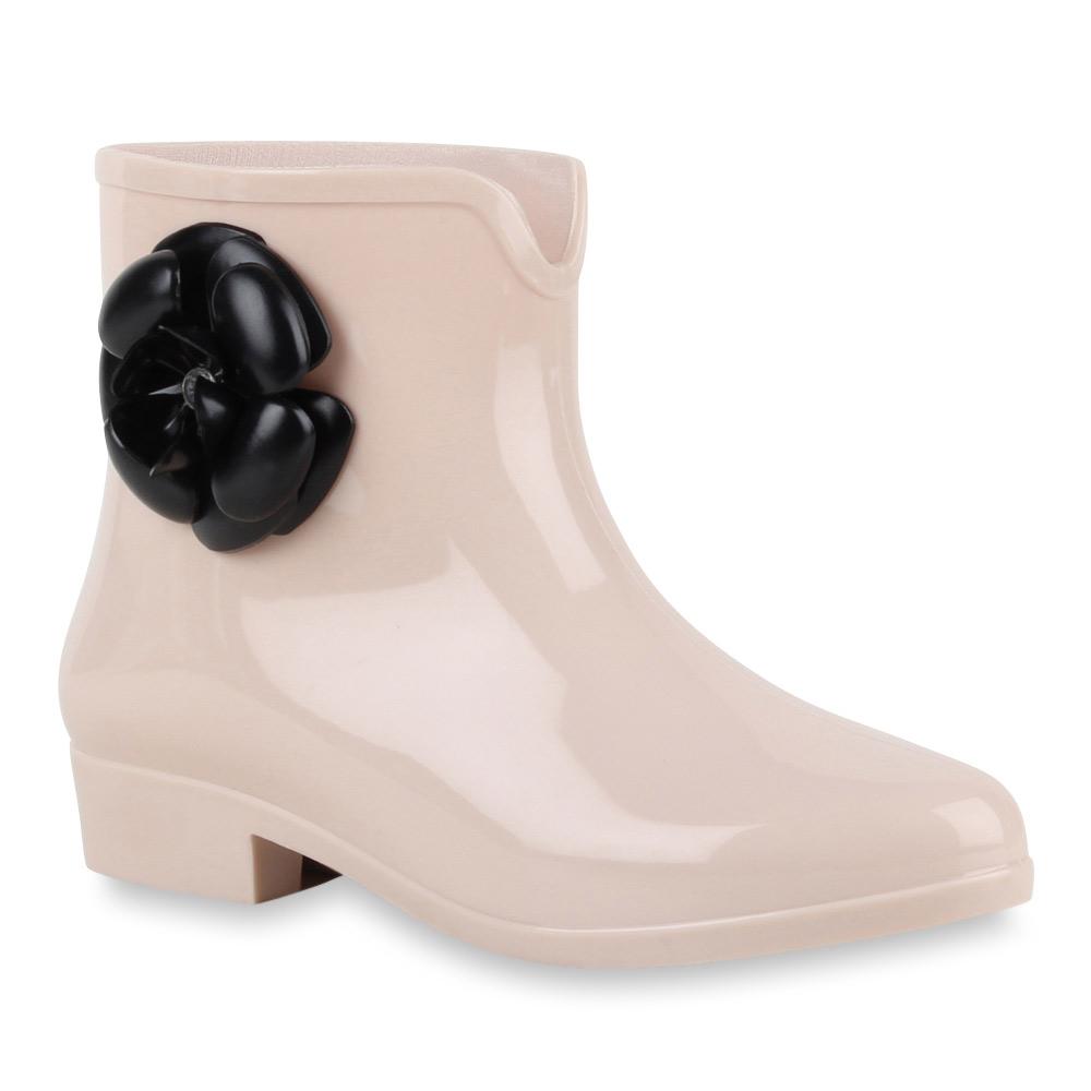 damen stiefeletten lack gummistiefel blumen boots 70513 gr. Black Bedroom Furniture Sets. Home Design Ideas