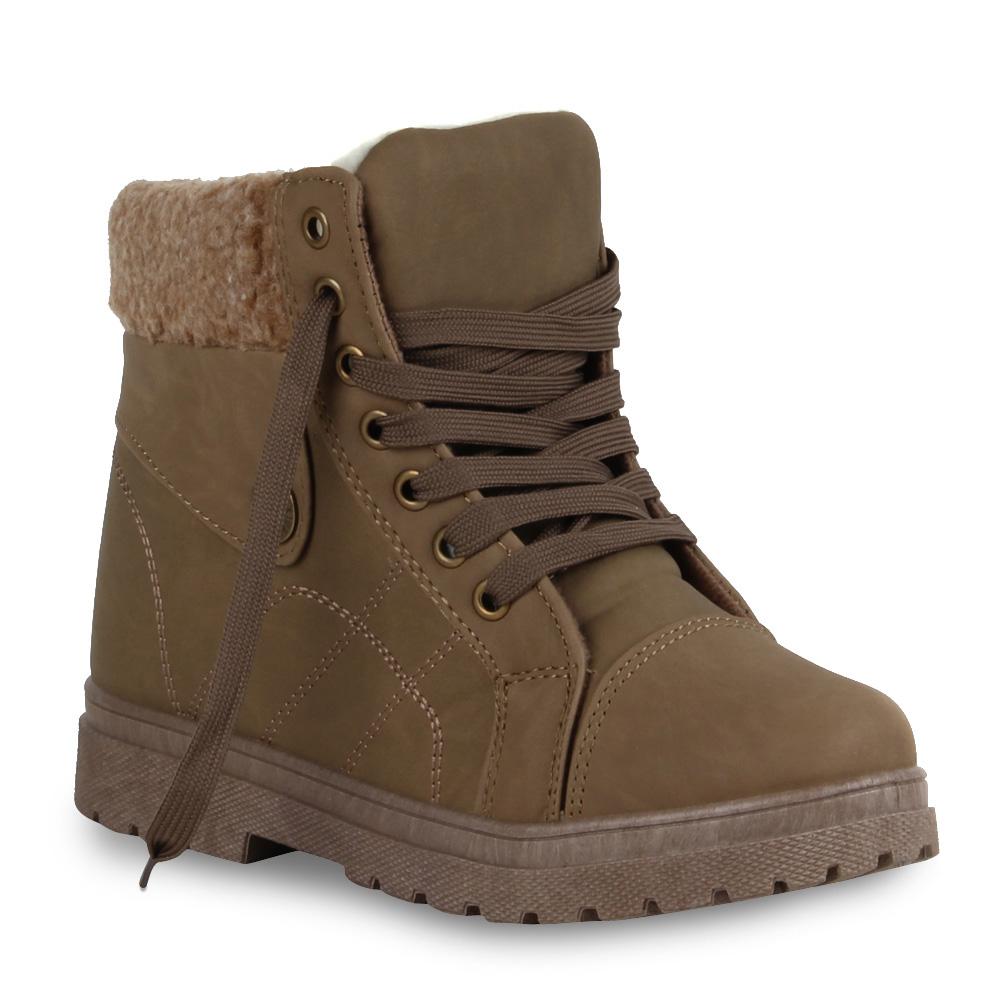 Gefuetterte-Damen-Stiefeletten-Worker-Boots-Schnuerschuhe-70422-Gr-36-41