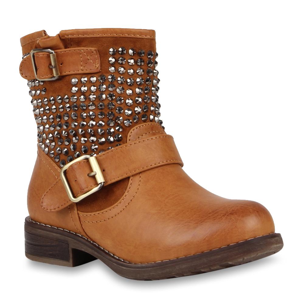 Neu Damen Stiefeletten Stiefel Biker Boots Nieten Warm Gefüttert 170-628
