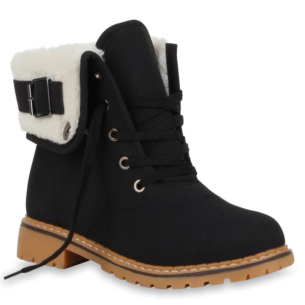 Damen-Winter-Stiefeletten-Worker-Boots-Gefuetterte-Stiefel-70497-Gr-36-41