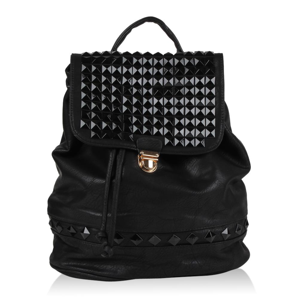 damen rucksack lederoptik nieten freizeit tasche 70896 top ebay. Black Bedroom Furniture Sets. Home Design Ideas