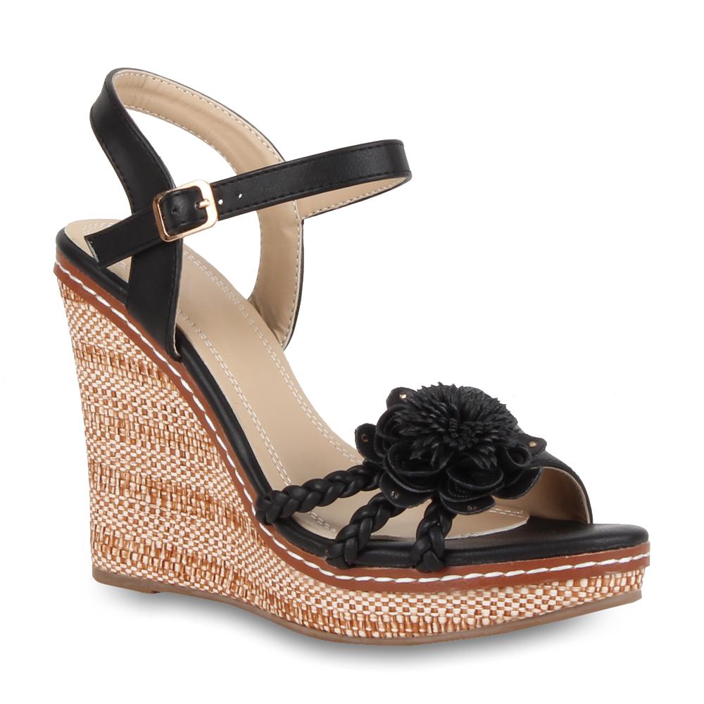 damen keilabsatz sandaletten high heels 70915 strass. Black Bedroom Furniture Sets. Home Design Ideas