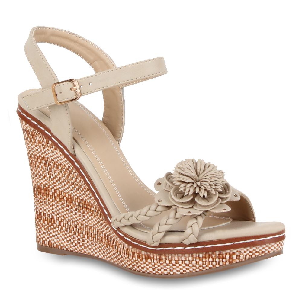 damen keilabsatz sandaletten high heels riemchen 70915. Black Bedroom Furniture Sets. Home Design Ideas