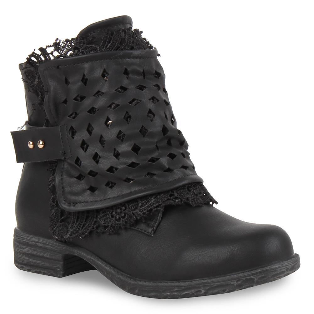 damen biker boots stiefeletten spitze lochungen 70918 stiefel gr 36 41 ebay. Black Bedroom Furniture Sets. Home Design Ideas