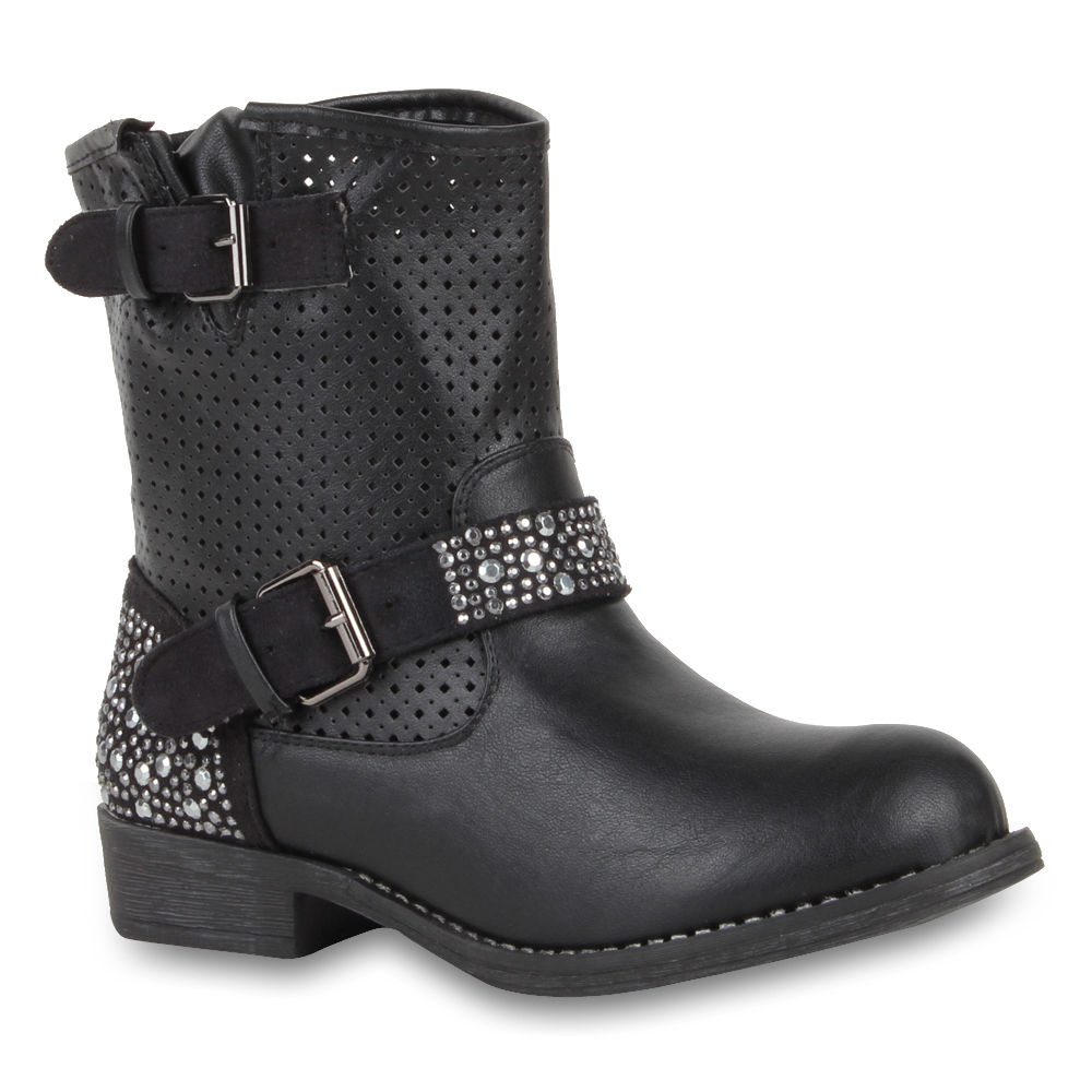damen stiefelette 94702 schuhe biker boots skull 36 41 ebay. Black Bedroom Furniture Sets. Home Design Ideas