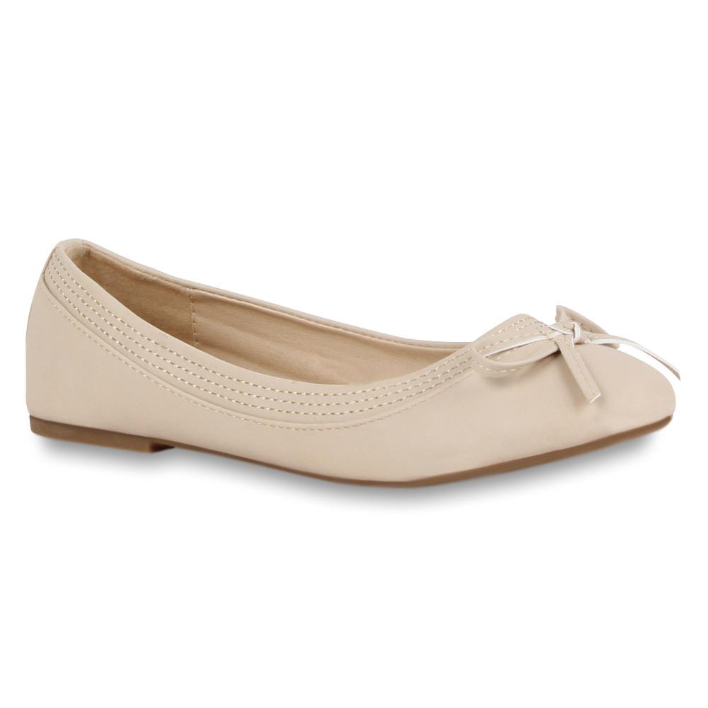 Damen Ballerinas Schleifen Slipper 70943 Flats Flache Schuhe Gr. 36-42 Stylisch