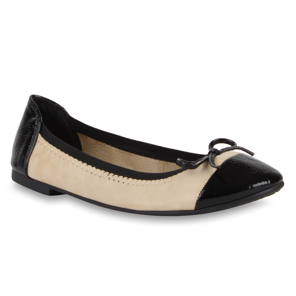 trendy damen ballerinas schwarze spitze lack 70986 slipper gr 36 41 ebay. Black Bedroom Furniture Sets. Home Design Ideas
