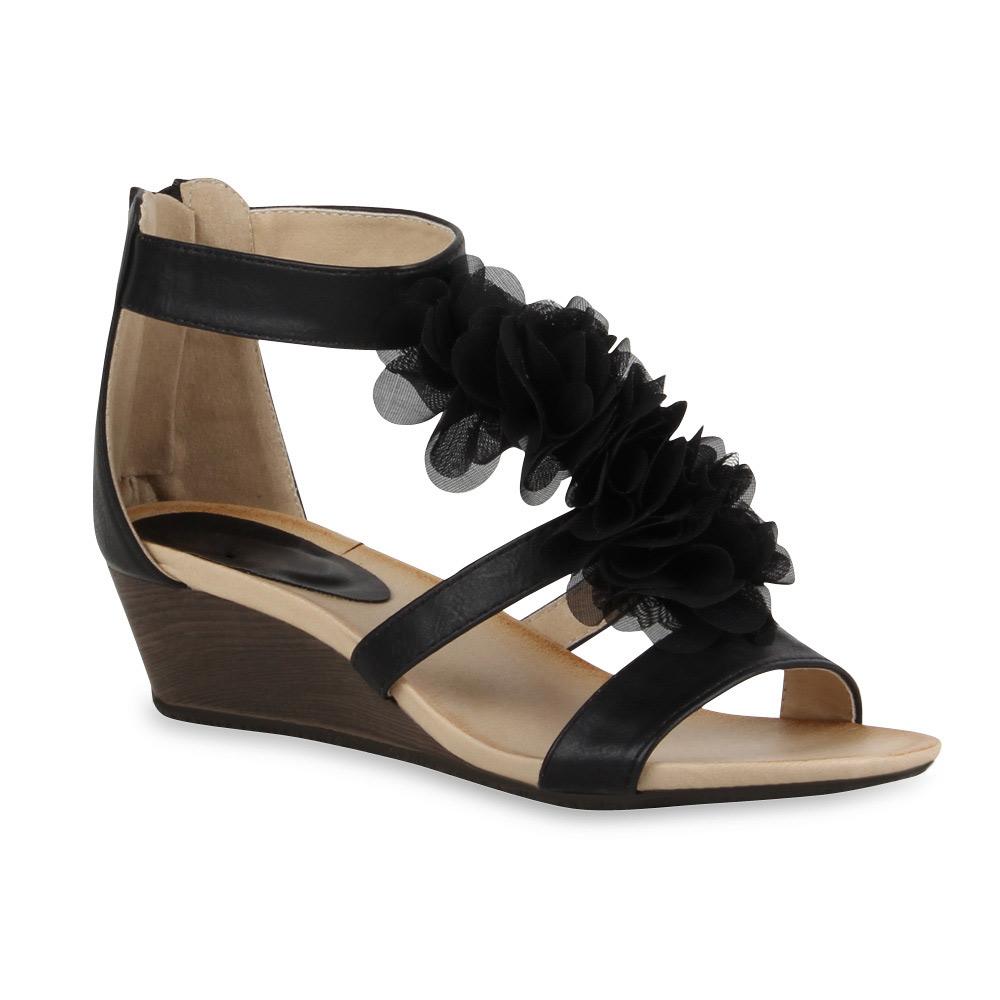 damen sandalen keilabsatz wedges blumen sommer schuhe. Black Bedroom Furniture Sets. Home Design Ideas