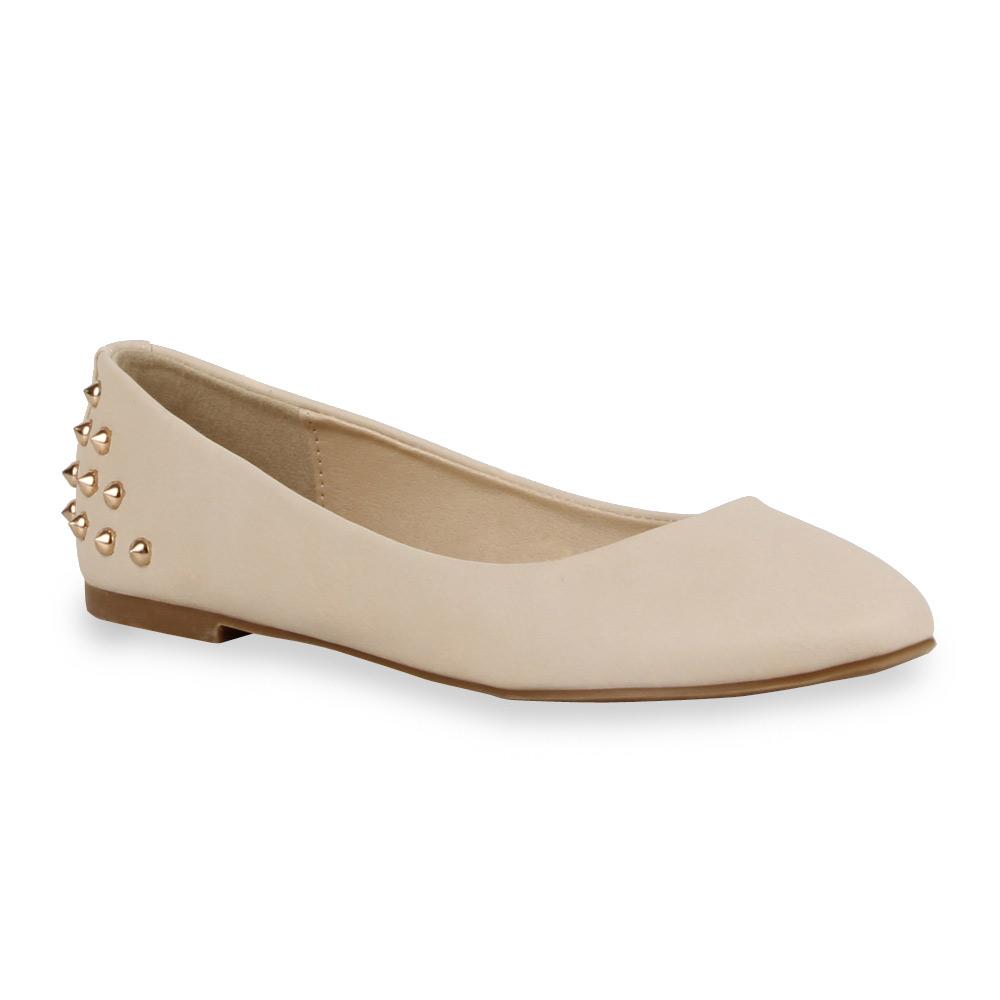 spitze damen ballerinas slipper nieten 71026 pastell schuhe gr 36 42 stylisch ebay. Black Bedroom Furniture Sets. Home Design Ideas