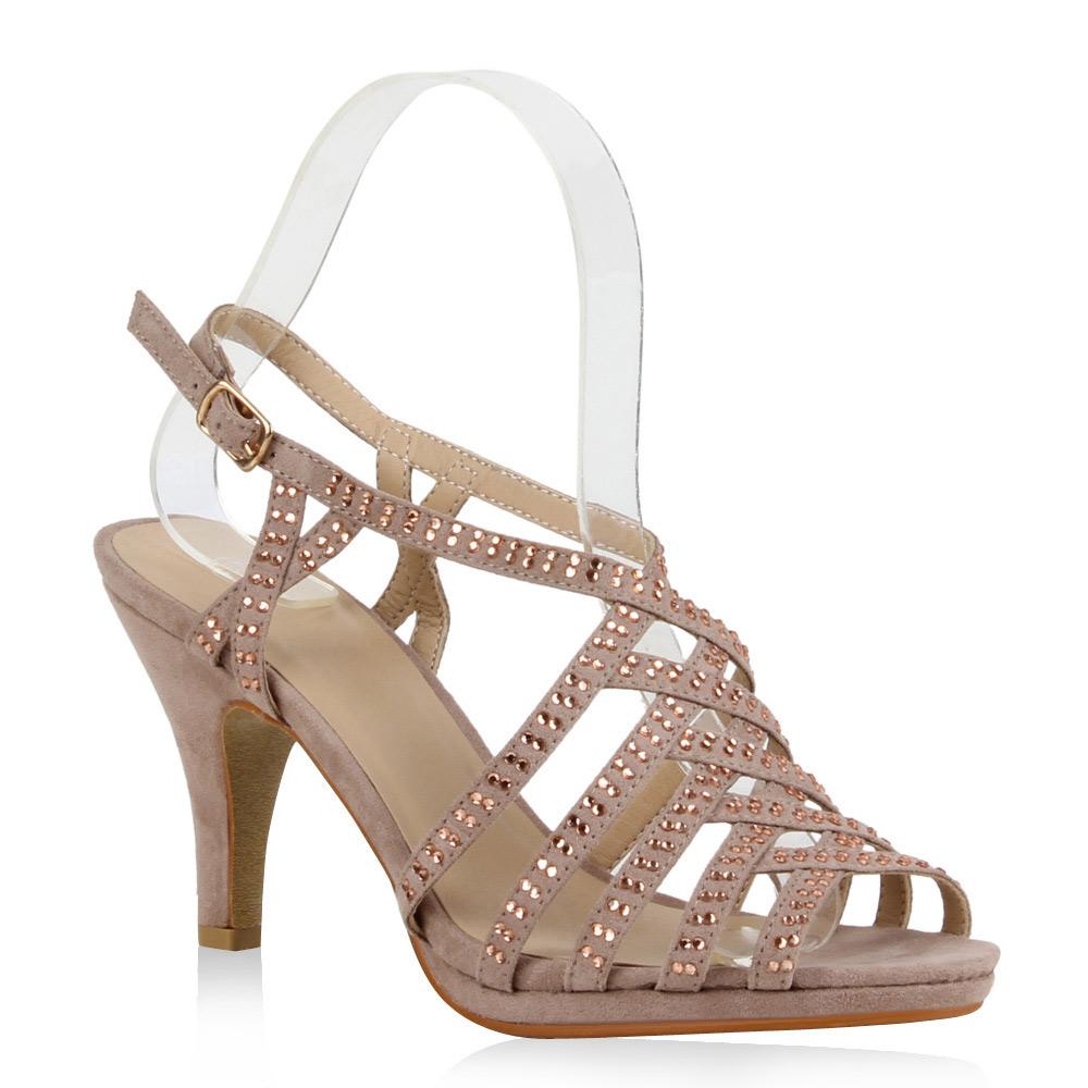 damen sandaletten riemchen high heels 71135 strass schuhe. Black Bedroom Furniture Sets. Home Design Ideas