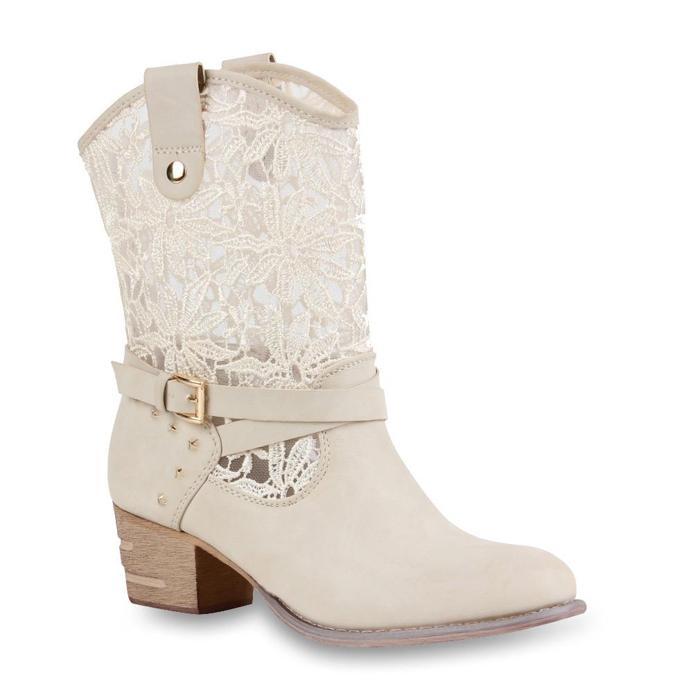 damen stiefeletten spitzen nieten cowboy boots 71152 gr 36 41. Black Bedroom Furniture Sets. Home Design Ideas