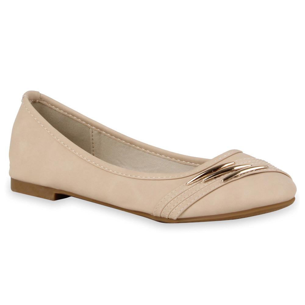 Klassische Damen Ballerinas Lederoptik Slipper 71193 Schuhe Gr. 36-42