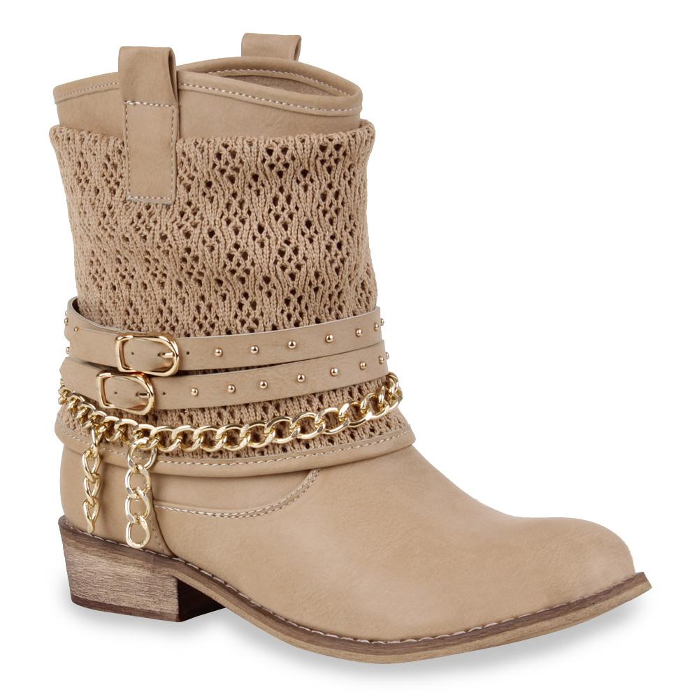 Trendy Damen Stiefeletten Strick Biker Boots Ketten 71196 ...