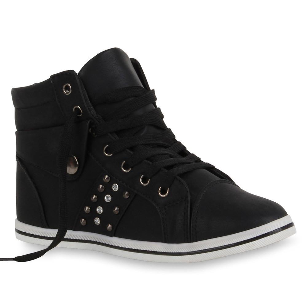 Damen Sneakers Sneaker Boots Nieten 71289 Sportschuhe Strass Gr. 36-41 Modatipp