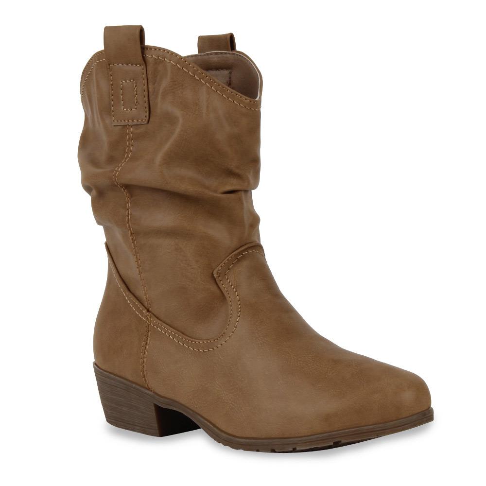 Damen Stiefeletten Bequeme Cowboy Boots 71300 Western Stiefel Gr. 36-41