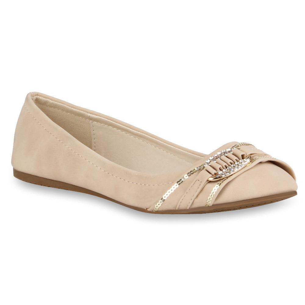 Damen Ballerinas Pastell Strass Pailletten Slipper 71322 Schuhe Gr. 36-42