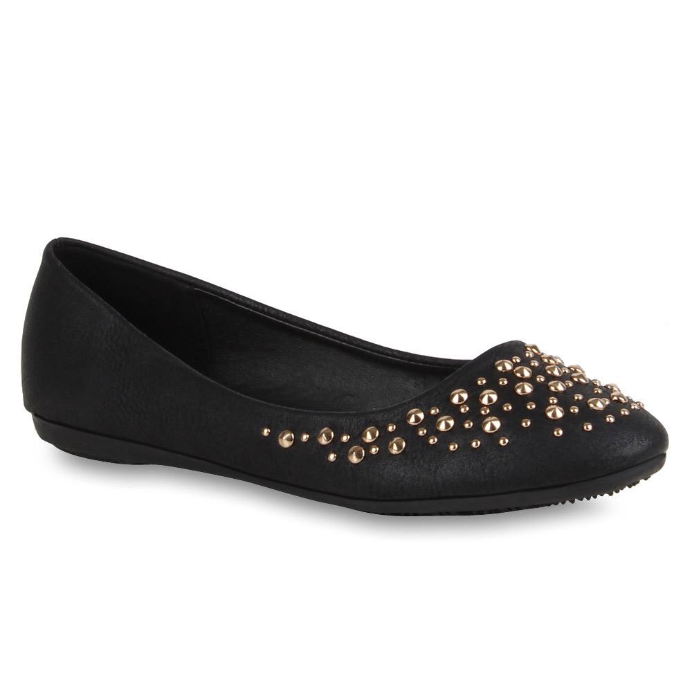 spitze damen ballerinas nieten slipper 71326 flache schuhe gr 36 42 new look ebay. Black Bedroom Furniture Sets. Home Design Ideas