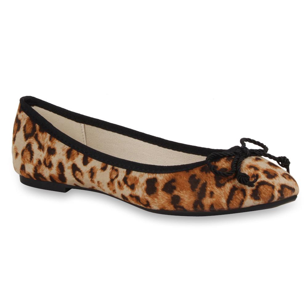 damen ballerinas leo animal print slipper 71355 schuhe gr. Black Bedroom Furniture Sets. Home Design Ideas