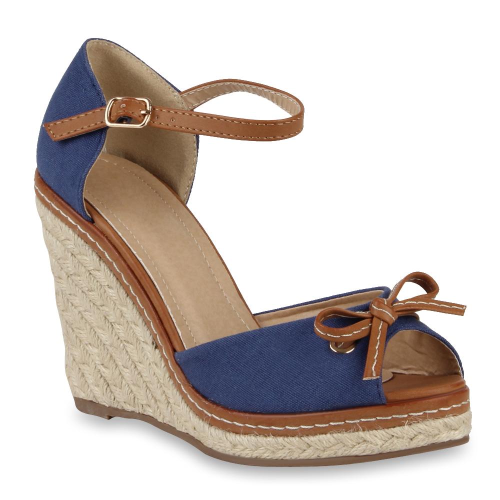 damen keilabsatz sandaletten bast wedges 71360 high heels. Black Bedroom Furniture Sets. Home Design Ideas