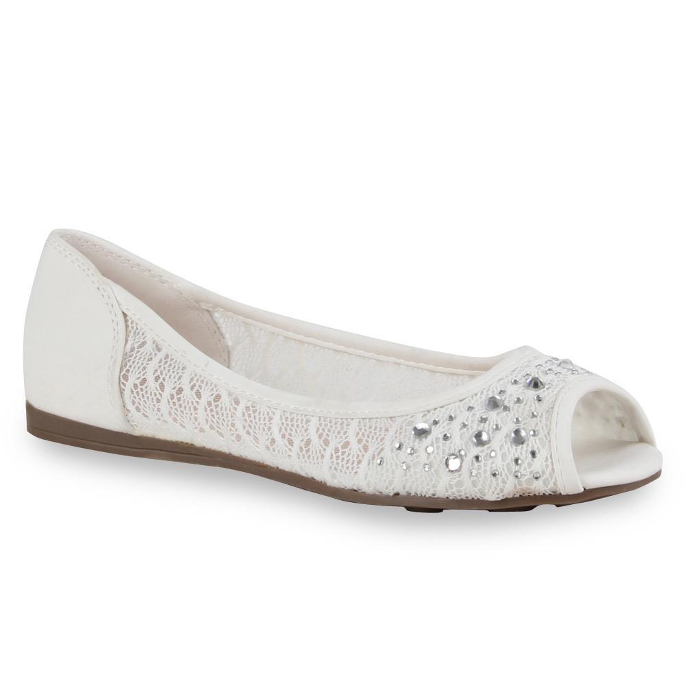 damen ballerinas spitze peep toes slipper flats schuhe 71458 ebay. Black Bedroom Furniture Sets. Home Design Ideas