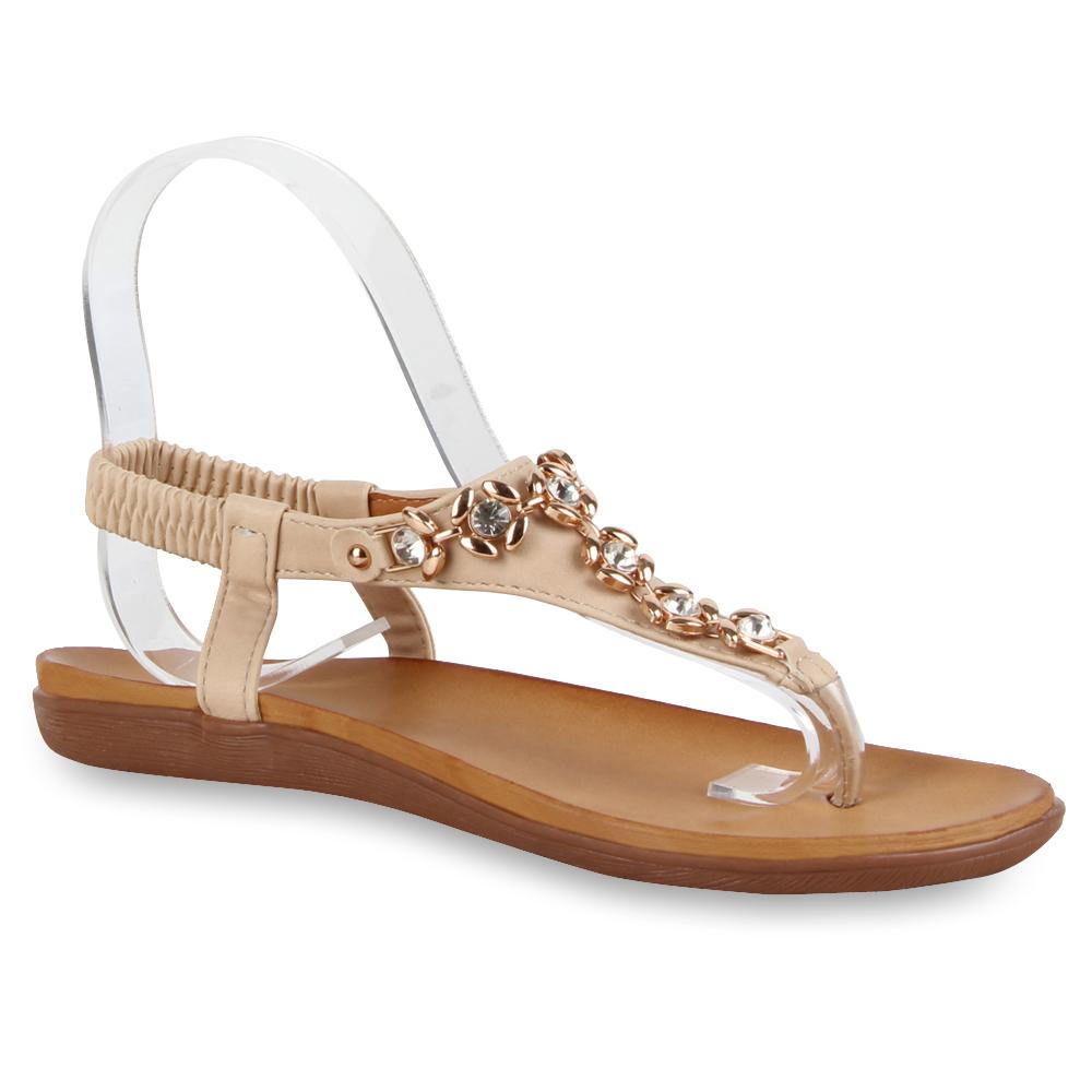 bequeme damen sandalen zehentrenner schmucksteine schuhe 71478 ebay. Black Bedroom Furniture Sets. Home Design Ideas