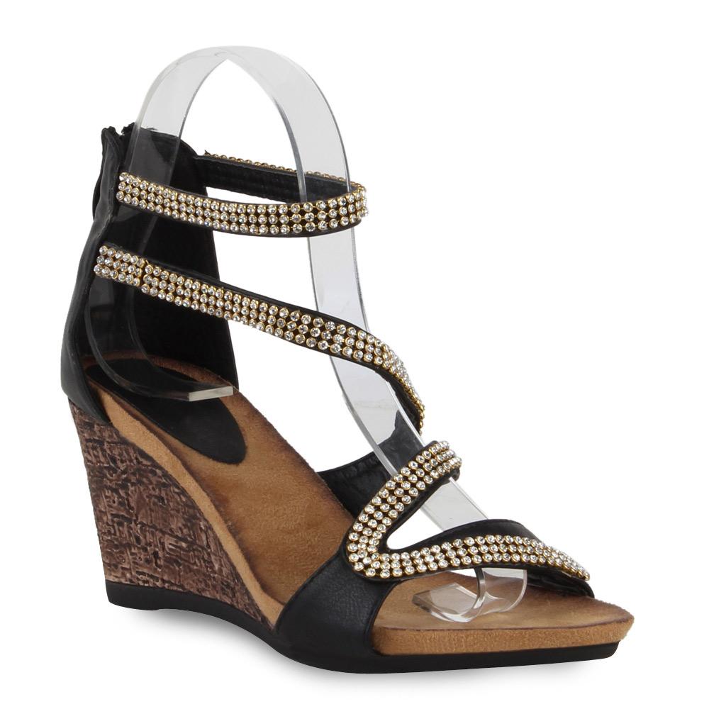damen sandaletten high heels keilabsatz kork wedges schuhe. Black Bedroom Furniture Sets. Home Design Ideas