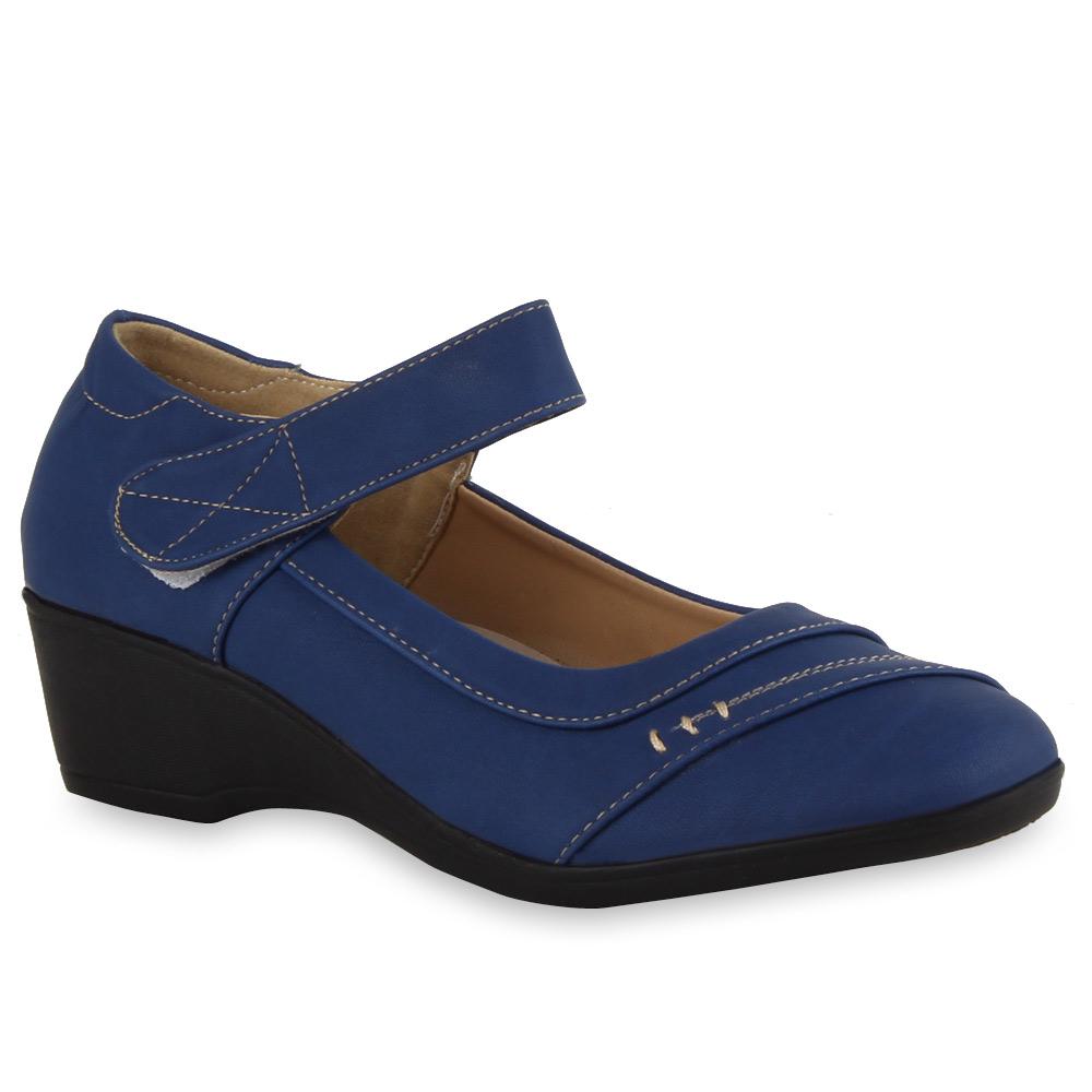 Damen Ballerinas Klettverschluss Keilabsatz Schuhe 71568 Modatipp