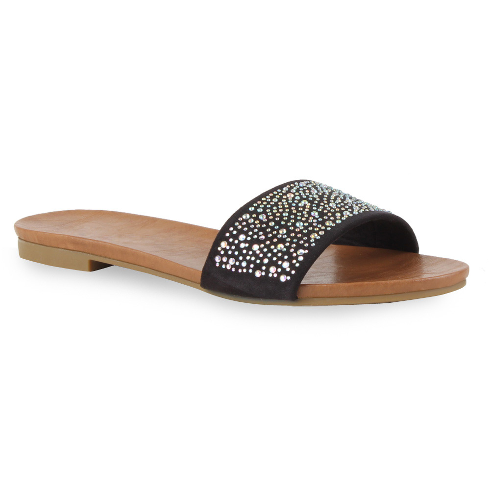 damen sandalen flats schlappen strass pastell sommer. Black Bedroom Furniture Sets. Home Design Ideas