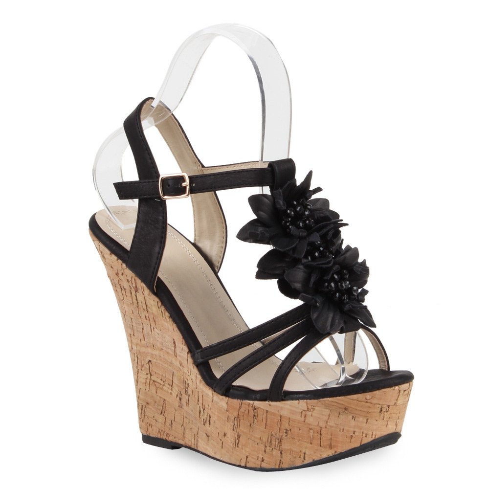 damen sandaletten keilabsatz kork wedges blumen high heels 71648 ebay. Black Bedroom Furniture Sets. Home Design Ideas