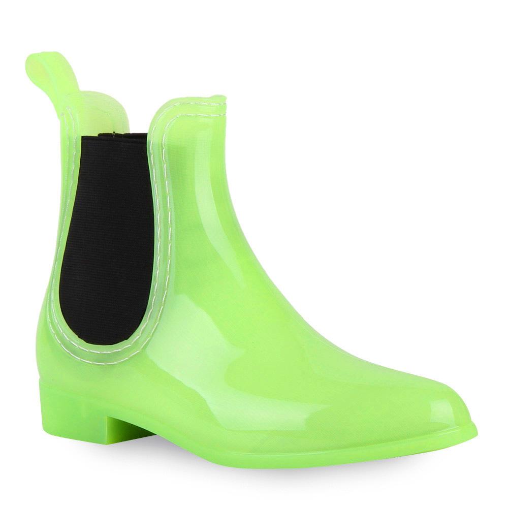 Damen-Lack-Stiefeletten-Gummistiefel-Chelsea-Boots-Schuhe-70510-Gr-36-41