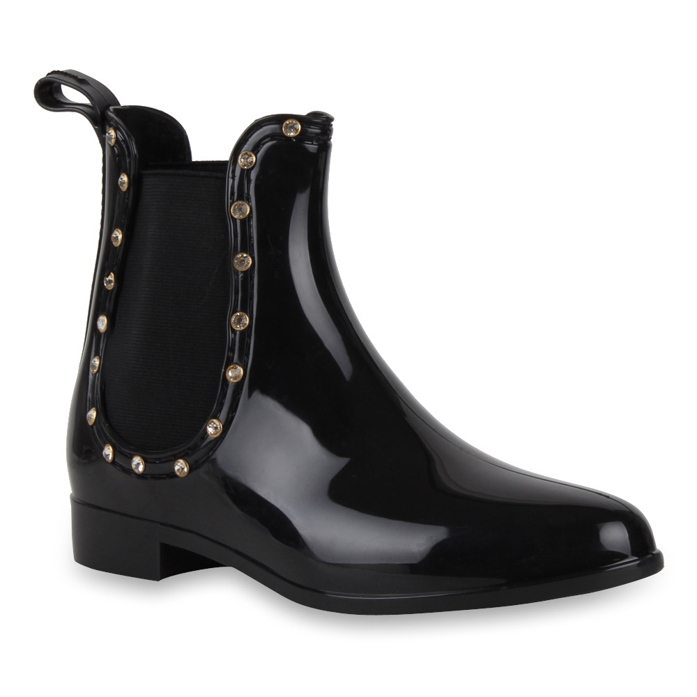 damen lack stiefeletten regenschuhe chelsea boots schwarz. Black Bedroom Furniture Sets. Home Design Ideas