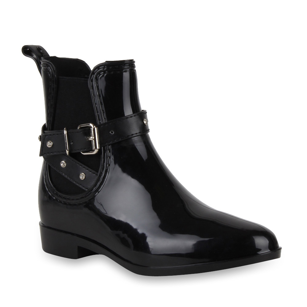 damen lack stiefeletten regenschuhe chelsea boots schwarz 99372 new look ebay. Black Bedroom Furniture Sets. Home Design Ideas