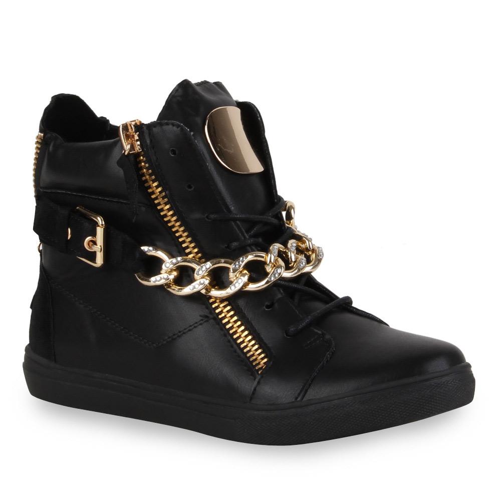 trendy damen sneakers ketten sportschuhe high top 71788 ebay. Black Bedroom Furniture Sets. Home Design Ideas