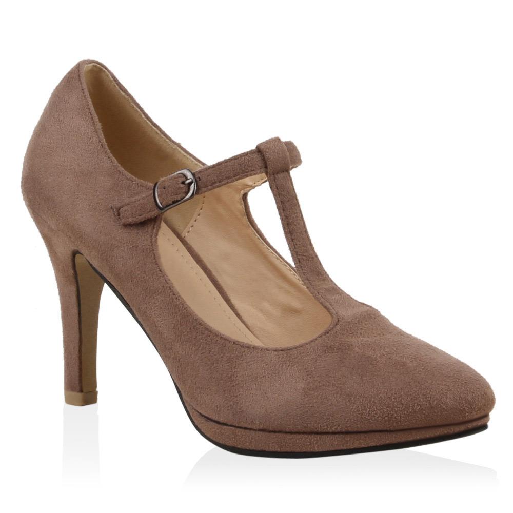 damen pumps t strap high heels riemchenpumps schuhe 71805. Black Bedroom Furniture Sets. Home Design Ideas