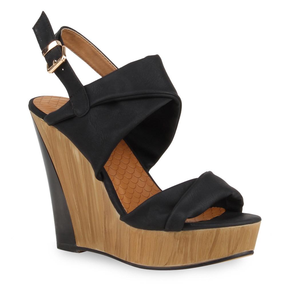 damen sandaletten keilabsatz holzoptik wedges high heels. Black Bedroom Furniture Sets. Home Design Ideas