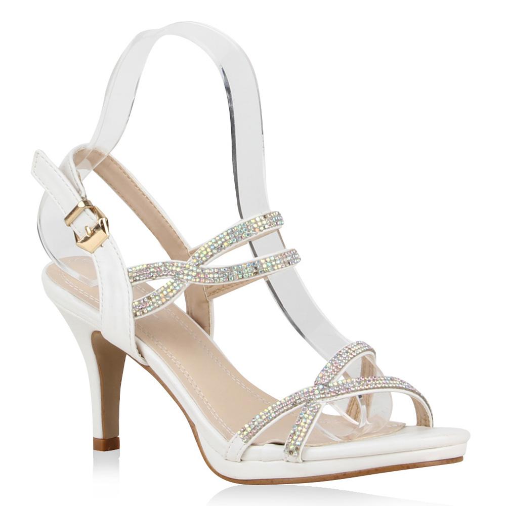 damen sandaletten slingbacks strass riemchen high heels. Black Bedroom Furniture Sets. Home Design Ideas