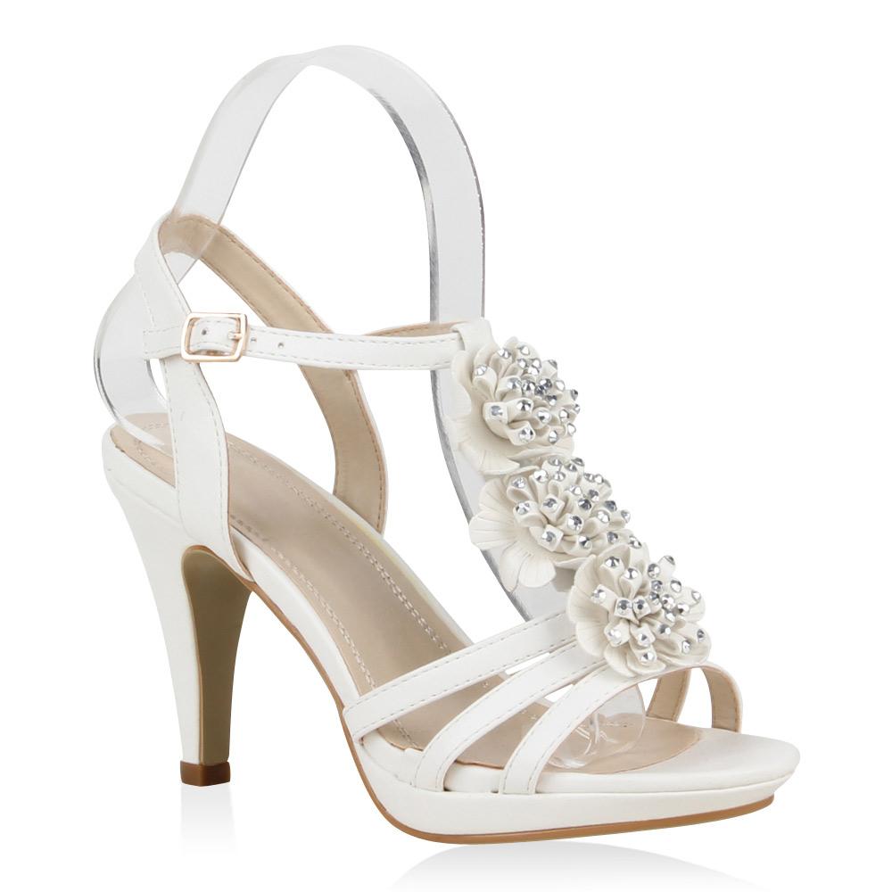 damen riemchen sandaletten blumen high heels stilettos. Black Bedroom Furniture Sets. Home Design Ideas