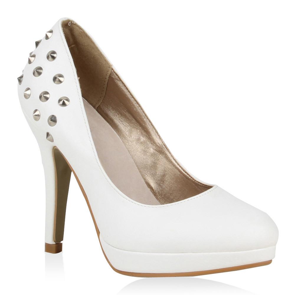 damen plateau pumps nieten high heels stilettos 72267 ebay. Black Bedroom Furniture Sets. Home Design Ideas