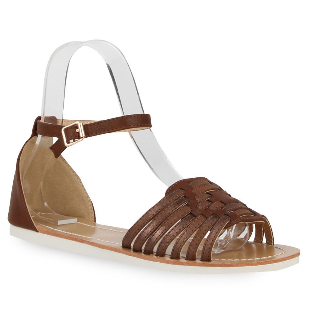flache damen sandalen metallic riemchensandalen sommer schuhe 72280 ebay. Black Bedroom Furniture Sets. Home Design Ideas