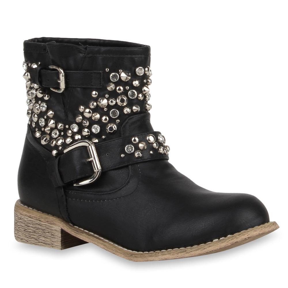 neu damen biker boots nieten stiefel buckle stiefeletten. Black Bedroom Furniture Sets. Home Design Ideas