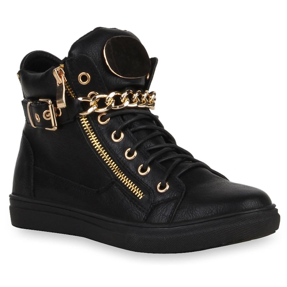 style trend damen high top sneakers ketten zipper sportschuhe 99589 top ebay. Black Bedroom Furniture Sets. Home Design Ideas