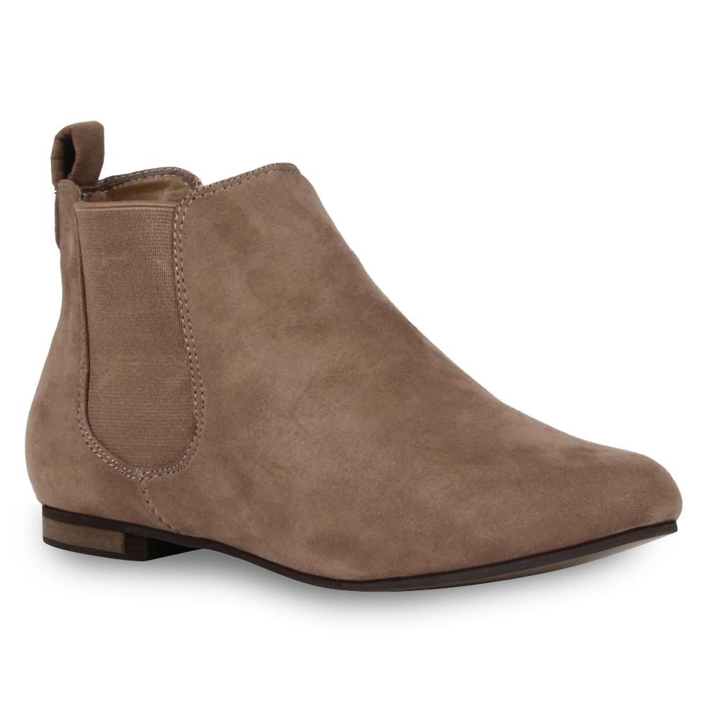 moderne damen stiefeletten flache chelsea boots 72526 ebay. Black Bedroom Furniture Sets. Home Design Ideas