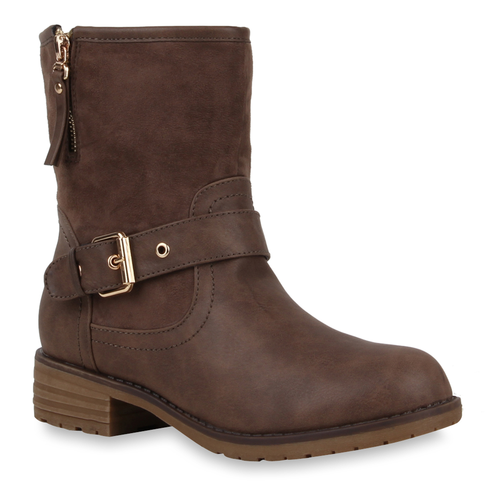 damen biker boots stiefeletten vintage schuhe 70004 gr 36 41 stylisch ebay. Black Bedroom Furniture Sets. Home Design Ideas