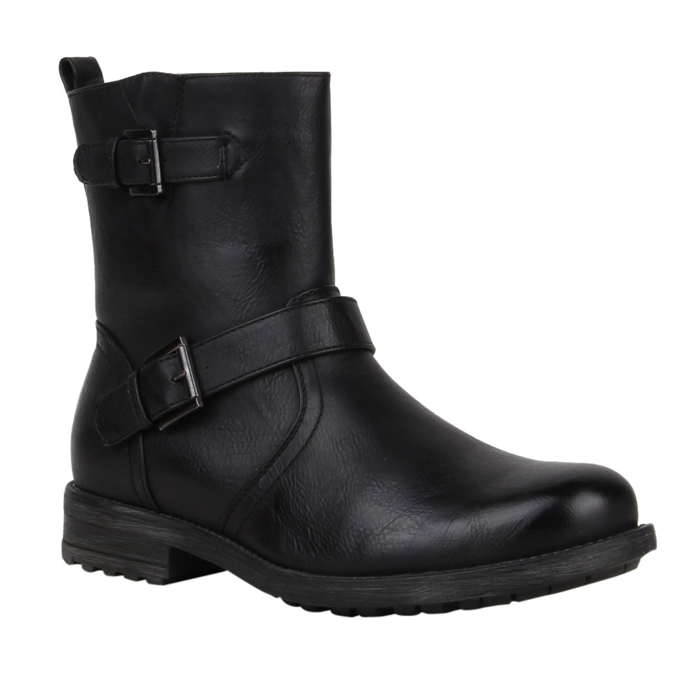 herren biker boots derbe stiefel lederoptik schuhe 99603 gr 40 45 top ebay. Black Bedroom Furniture Sets. Home Design Ideas