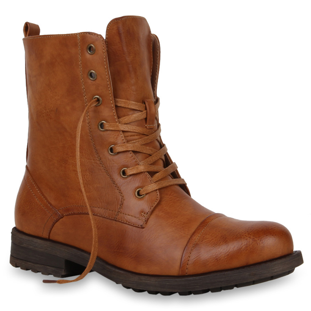 Herren Worker Boots Gefütterte Stiefel Gr. 39-45 Lederoptik Schuhe ...
