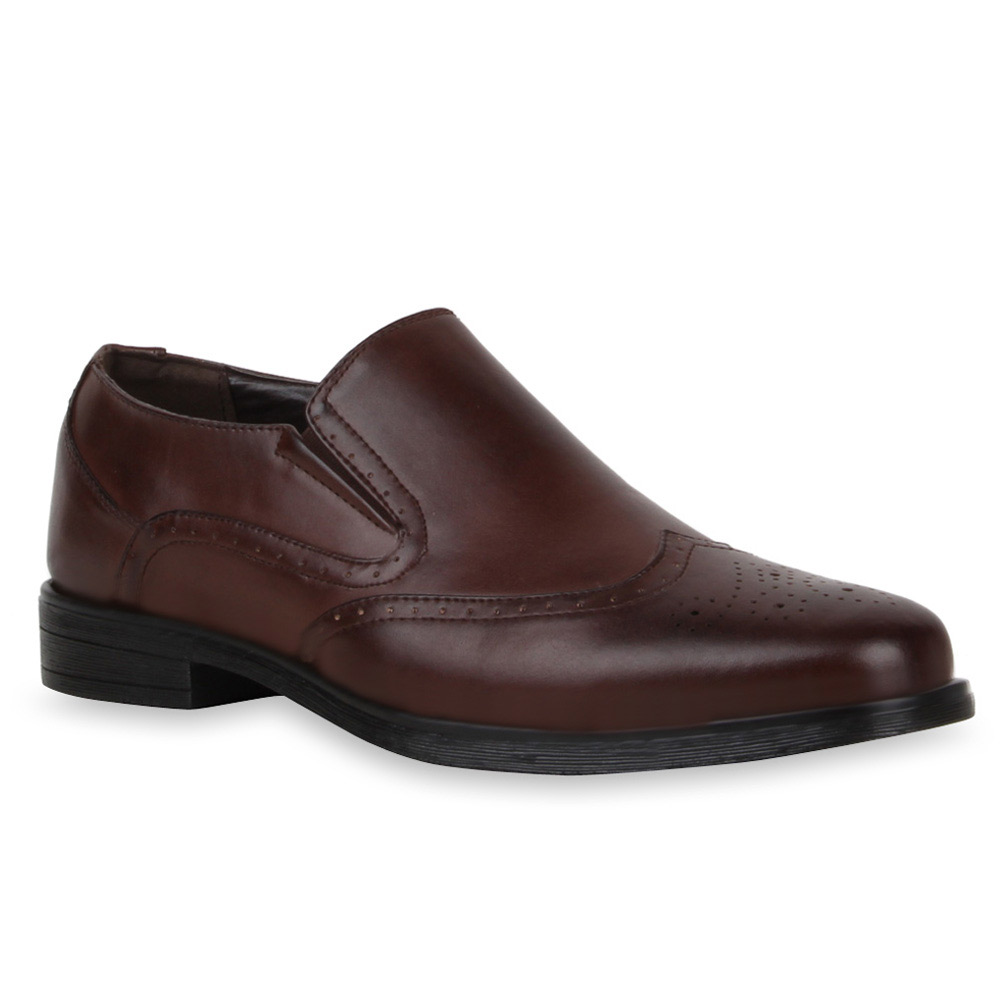 Klassische Herren Slipper Office Business Schuhe Lederoptik 72877