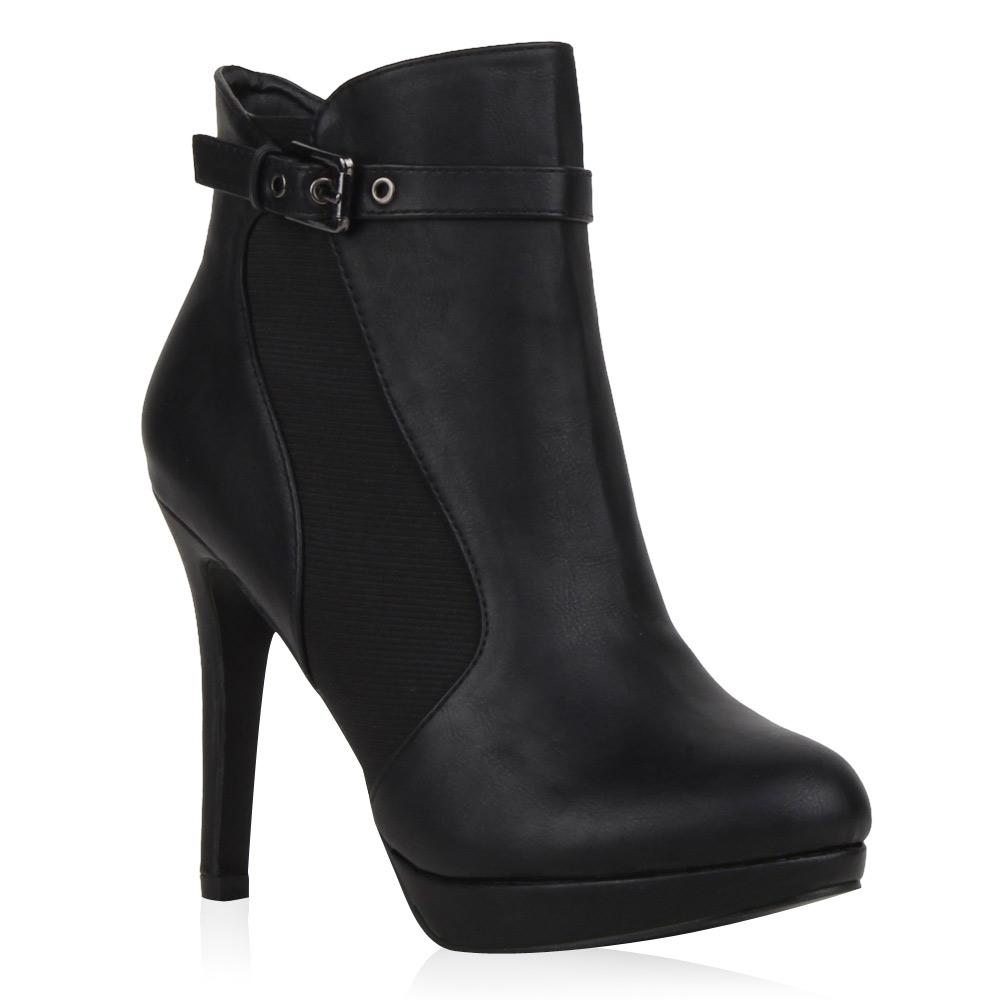 damen plateau stiefeletten high heels boots 72886. Black Bedroom Furniture Sets. Home Design Ideas