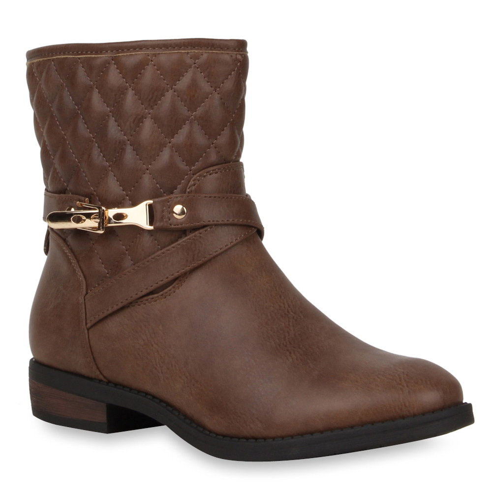 Damen-Stiefeletten-Biker-Boots-Schlupfstiefel-Schnallen-70976-Gr-36-41-Modatipp