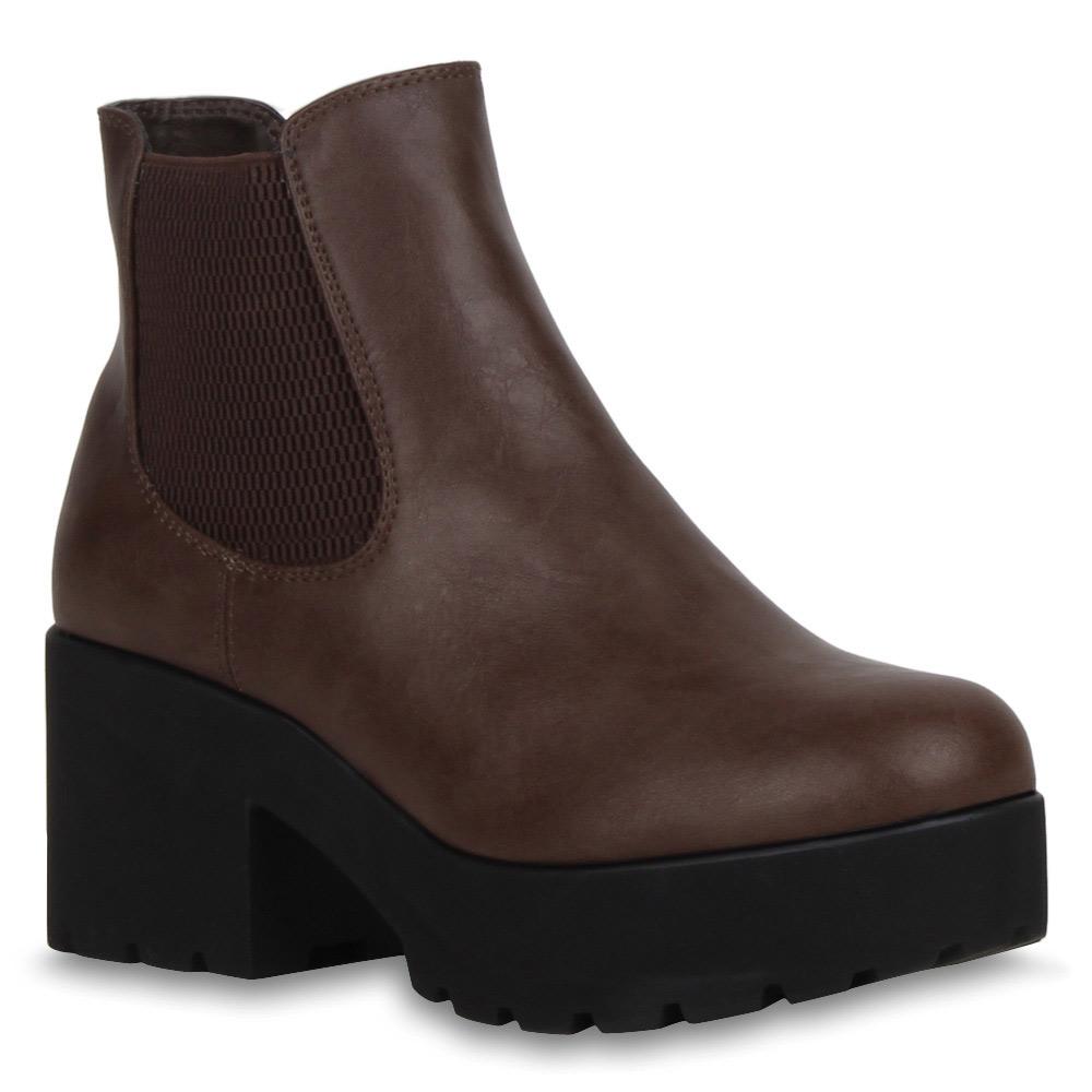gef tterte damen stiefeletten plateau chunky heels chelsea. Black Bedroom Furniture Sets. Home Design Ideas